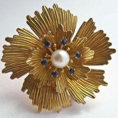 KREMENTZ Pearl and Sapphire Rhinestone Brooch  by PinkAstilbe, $30.00