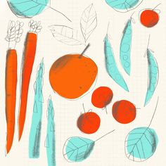 Veggie Patch, Fruit And Veg, Food Illustrations, Ancient Art, Art Prints, Abstract, Day, Creative, Artwork