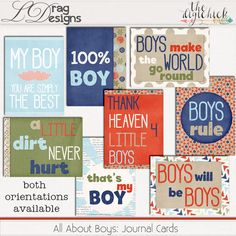 All About Boys: Journal Cards by LDrag Designs