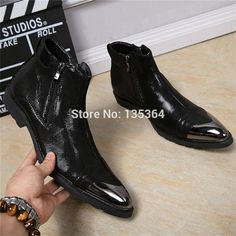 89.60$  Buy here - http://alifm6.worldwells.pw/go.php?t=32764041696 - New High Lace Up Military Cowboy Boots Men Flats Black Winter Zipper Boots Men Shoes Ankle Boots Pointed Toe Shoes Zapatos Hombr 89.60$