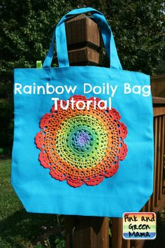 Pink and Green Mama: Painted Rainbow Doily Bag Tutorial