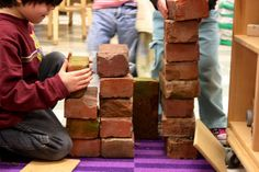 Bricks make an interesting prop in the Block Area. This would be great during a study of building materials.