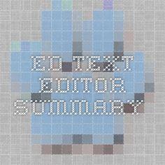 Ed Text Editor Summary