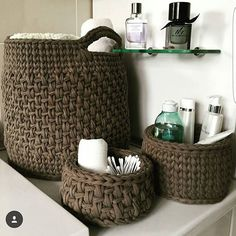 61 Ideas home decored diy storage baskets Crochet Basket Pattern, Knit Basket, Crochet Patterns, Crochet Baskets, Crochet Home Decor, Diy Crochet, Crochet Storage, Crochet Purses, Storage Baskets