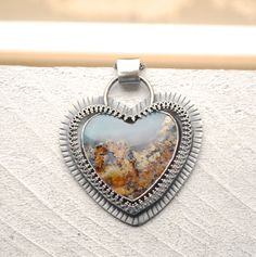 Silver Priday Plume Agate Heart Pendant Necklace, Statement Necklace, Silver Heart and Stone Pendant by EONDesign on Etsy https://www.etsy.com/listing/224287513/silver-priday-plume-agate-heart-pendant