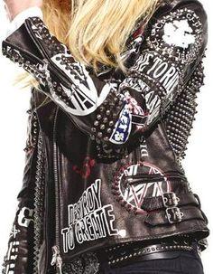This Diesel Black Gold studded leather jacket. Punk Fashion, Womens Fashion, Fashion Trends, Latex Fashion, Gold Fashion, Lolita Fashion, Punk Jackets, Grunge, Battle Jacket