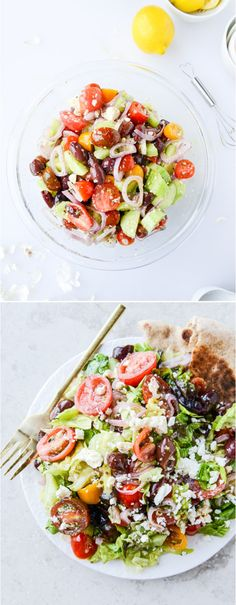 The best ever greek salad - my favorite salad plus a dressing that works on EVERYTHING. and a how-to on making your own whole wheat pita! I howsweeteats.com