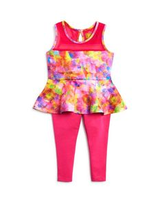 Nicole Miller Infant Girls' Print Peplum Top & Solid Leggings Set - Sizes 12-24 Months