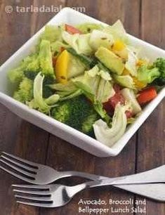 Avocado, Broccoli and Bellpepper Lunch Salad recipe Gout Recipes, Salad Recipes, Liver Recipes, Diabetes Recipes, Diabetes Diet, Snacks Recipes, Foie Gras, Healthy Salads, Healthy Recipes