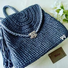 Show, Knit Crochet, Heaven, Knitting, Bags, Fashion, Blue Bags, White Handbag, Crochet Pouch