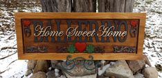 Beautifully carved, the family plaque with upper heart corner accents and the Crimson and Clover design centered on the lower.