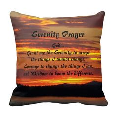 Serenity Prayer Orange Sunset Throw Pillow #prayers #inspirational #verse #sunsets