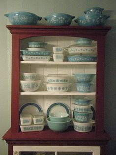 Growing up, we used to eat popcorn out of a large blue bowl just like in this collection. Still do!