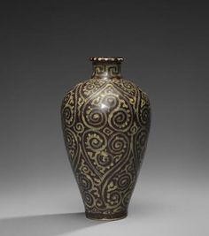 Jizhou 'guri'-style vase, meiping, Southern Song Dynasty.