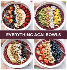 Everything you need to know about making your own acai bowl from home! With four acai bowl recipes, products/ingredient suggestions (for th. Acai Bowl Recipes Healthy, Acai Recipes, Healthy Snacks, Cooking Recipes, Best Acai Bowl Recipe, Smoothie Recipes, Acai Bowl Recipe With Acai Powder, Recipies, Eat Healthy