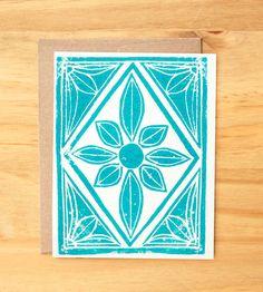Single Hand Block Printed Card by ShopKatharineWatson on Etsy, $5.00