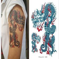 Barato Sexy etiqueta do tatuagem Tribal do dragão chinês azul 3D corpo fresco impermeável tatuagem temporária adesivos 2849, Compro Qualidade Tatuagens Temporárias diretamente de fornecedores da China:                 Matéria:                   1.   Não-tóxico e seguro    2.   Fácil de aplicar, transfer