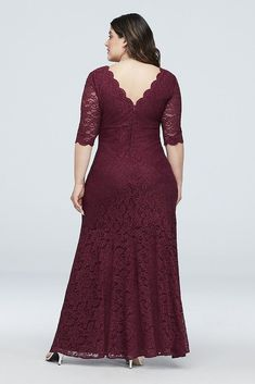 V-Neck Ruched Lace Plus Size Gown with Sleeves Style Merlot, Bridesmaid Dresses plus size bridesmaid dresses with sleeves Bridesmaid Dresses With Sleeves, Bridesmaid Dresses Plus Size, Gowns With Sleeves, African Fashion Dresses, African Dress, Bridal Hijab Styles, Lace Dress Styles, Mother Of The Bride Gown, Plus Size Gowns