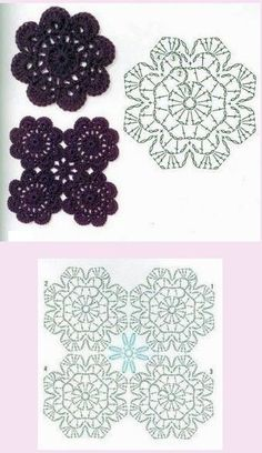 Decorative Bobble Charts pattern by Kari Philpott Mandala Au Crochet, Crochet Snowflake Pattern, Crochet Motif Patterns, Crochet Symbols, Crochet Diy, Crochet Wool, Crochet Diagram, Crochet Chart, Crochet Squares