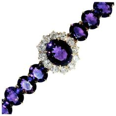 Antique Diamond and Siberian Amethyst Bracelet - Late 19th century gold bracelet with approximately 35 cts. of fine deep purple/red natural amethysts and 3.6 cts of European-cut Diamonds, all near colorless and very slightly included. This bracelet is well made and 6.75 inches in length.