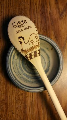 Eggs & Chicken Spoon, Free Shipping Storewide, Wood Burned Spoons, Eggs Sold Here, Wood Burned, Pyrography, Eggs, Chicken Kitchen Spoon