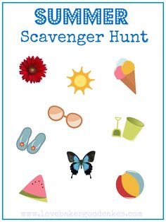 Free Summer Scavenger Hunt Printable from Love Bakes Good Cakes