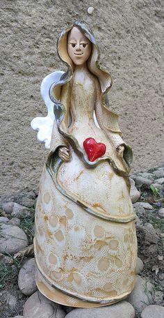 Anjel so srdiečkami - zvonec / e-keramika - SAShE.sk - Handmade Dekorácie