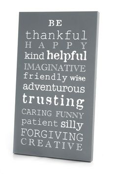 White and Dark Gray Be Thankful Art Panel by Twelve Timbers on @HauteLook