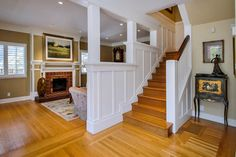 Half Wall At Top Of Staircase Design Ideas, Pictures, Remodel, and Decor - page 2