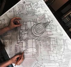 Marvelous Home Design Architectural Drawing Ideas. Spectacular Home Design Architectural Drawing Ideas. 3d Drawings, Drawing Sketches, Sketching, Sketch Art, Art Du Croquis, Perspective Art, Architecture Drawings, Drawing Techniques, Art Reference