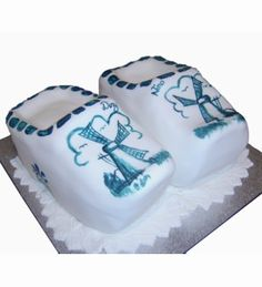 Dutch Delft Blue Clogs Cake