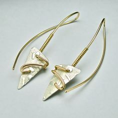 Bi-Metal Sheet / Wire Earring No. 4 in Argentium Sterling and 14K Gold-filled