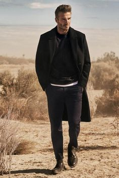 David Beckham wearing H&M Double Breasted Coat, H&M Derby Shoes with Chunky Soles, H&M Wool-blend Sweatshirt and H&M Chinos Ankle-Length