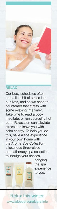 Counteract stress with some relaxing 'me time'. Read a book, meditate or run yourself a hot bath. #readabook #meditate #hotbath #relaxing #metime www.aloepersonalcare.info