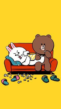 Lines Wallpaper, Cute Wallpaper Backgrounds, Cute Cartoon Wallpapers, Cute Couple Cartoon, Cute Couple Art, Cute Love Pictures, Cute Love Gif, Line Cony, Cute Bear Drawings