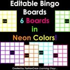"""This set includes:    6 editable bingo boards (5 x 5) in Neon Colors; pink, purple, orange, yellow, blue and green.    Each board has a """"free square"""" -..."""
