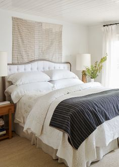 cozy layers in this farmhouse style bedroom | relaxed ranch house tour on coco kelley