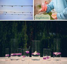 #simple beach wedding #reception decoration #floating flower centerpieces