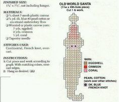 OLD WORLD SANTA - CHRISTMAS ORNAMENT, MAGNET, PACKAGE TIE-ON 2/2 Plastic Canvas