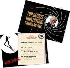Personalised James Bond 007 Theme Party Invitations