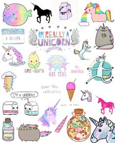 unicorn time! Phone Stickers, Tumblr Stickers, Cute Stickers, Cute Walpaper, Kawaii Drawings, Cute Drawings, Unicorn Quotes, Cute Doodles, Amazing Drawings