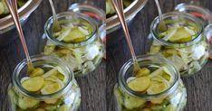 Hozzávalók 4-5 db 720 ml-es üveghez:   🍴  4 kg uborka  🍴  1 kg vöröshagyma (nálam részben lila)   a felöntőléhez:   🍴 6 dl v... Pickles, Cucumber, Food, Essen, Meals, Pickle, Yemek, Zucchini, Eten