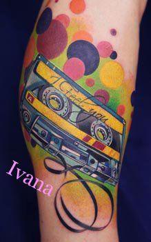 Cassette tattoo. By https://www.facebook.com/pages/Ivana-Tattoo-Art/208943449123095