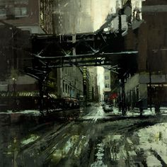 """Jeremy Mann """"Winter, Chicago"""" 36 x 36 inches. Oil on Panel 2014"""