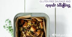 This gluten free sausage and apple stuffing is a healthier alternative to traditional dressing. The apples are subtle, but make it so savory and moist.