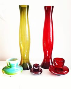Genie Bottle, Colored Vases, Hurricane Glass, Fused Glass, Glass Bottles, Glass Art, Amber, Art Deco, Polish