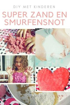 sensorisch spelen met super zand en smurfensnot - Zelf super zand en smurfensnot maken #diy Sensory Boxes, Activities For Kids, Crafty, Children, Fun, Baby, Posters, Seeds, Sensory Bins