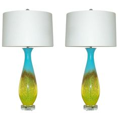 Pair of Vintage Italian Hand Blown Glass Lamps in Turquoise and Yellow | From a unique collection of antique and modern table lamps at http://www.1stdibs.com/furniture/lighting/table-lamps/