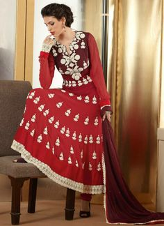 Red Georgette Enhanced With Embroidered And Diamond Work  This anarkali suit featuring finest embroidered work and diamond work with georgette fabric. This salwar kameez comes with matching santton crepe bottom and matching chiffon dupatta.  Rs. 4,880/-