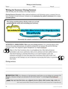 Writing a Summary: Common Core Informative Explanatory Writing for Any Content Area - middle and high school